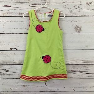 Hartstrings Ladybug Sleeveless Lime Green Dress